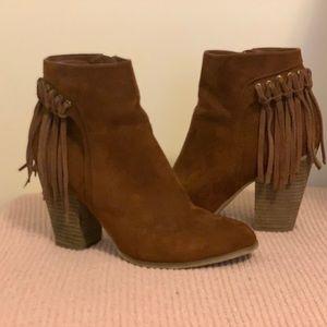 Shoes - Faux Suede Tassel Booties
